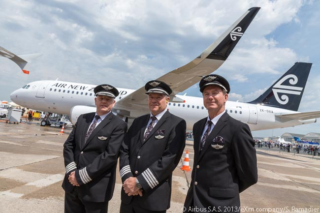 Air New Zealand took delivery on June 17, 2013 of its first new Airbus A320 equipped with fuel-saving Sharklets, at a ceremony at the Paris Air Show. The aircraft was officially handed over to the airline's Chief Flight Operations and Safety Officer, Capt. David Morgan