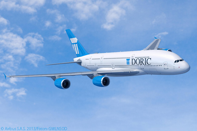 On June 17, 2013, Doric Lease Corp signed a memorandum of understanding at the 50th Le Bourget Airshow in Paris to buy 20 Airbus A380s to offer for operating lease