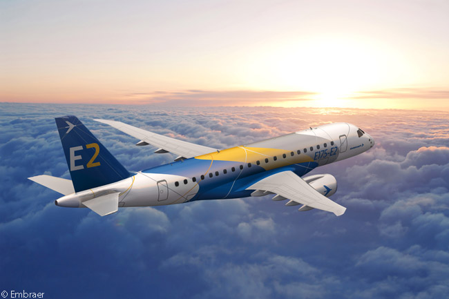 On June 17, 2013, at the Paris Air Show, U.S. regional-airline group SkyWest became the first company to place a firm order for the Embraer E-Jets E2 family, ordering 100 Embraer 175-E2s and acquiring purchase rights on another 100. The big order, which made SkyWest the launch customer for the Embraer 175-E2, came only a month after SkyWest had placed an order for up to 200 current-generation Embraer 175s, so its total first- and second-generation Embraer 175 buy could reach 400 aircraft