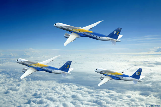 Embraer's new E-Jets E2 family is comprised of three aircraft models: the Embraer 175-E2, the Embraer 190-E2 and the Embraer 195-E2