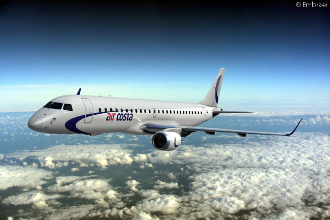 Embraer announced at the Paris Air Show on June 18, 2013 that Indian start-up Air Costa had acquired two Embraer 170s on lease and bought an Embraer 190 from the manufacturer to begin domestic regional-airline operations