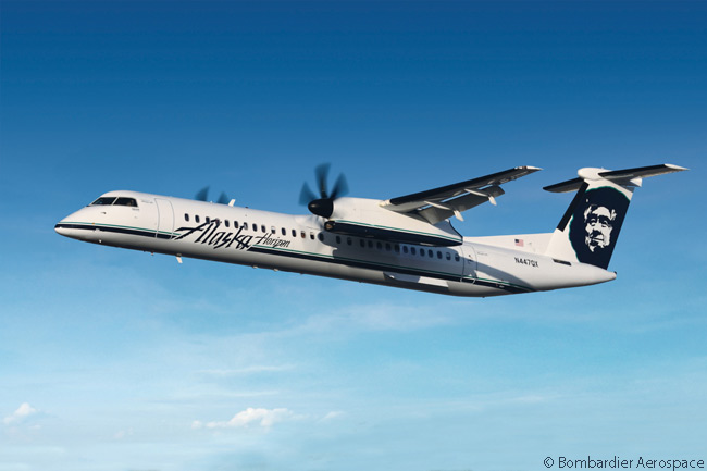 On June 18, 2013, Bombardier announced during the Paris Air Show that Alaska Airlines' sister carrier Horizon Air had exercised options on three Q400 NextGen turboprops and reconfirmed its options on seven more