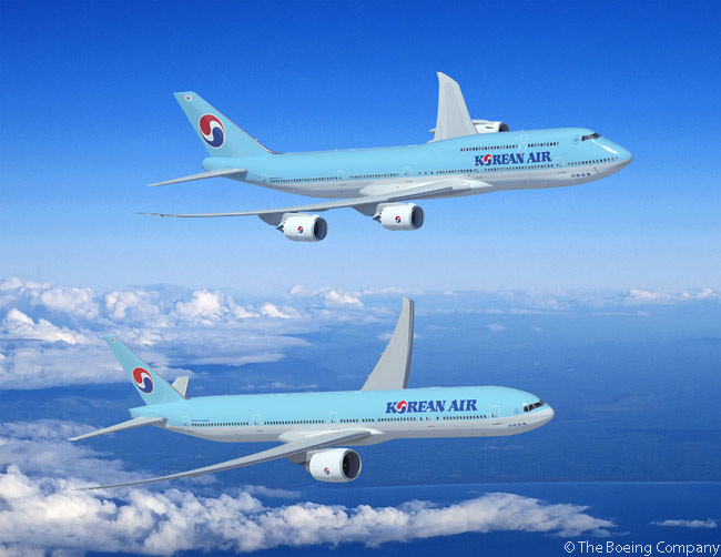 Boeing announced n June 18, 2013 at the Paris Air Show that long-time customer Korean Air had agreed to order five more Boeing 747-8 Intercontinental passenger jets and six more Boeing 777-300ERs. Korean Air is the only airline in the world to order both the passenger and freighter variations of the Boeing 747-8