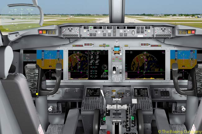 The Boeing 737 MAX will feature new large-format flight deck displays supplied by Rockwell Collins. According to Boeing, the new displays will deliver enhanced visuals, improved reliability, lower spares and maintenance costs, lower weight and lower upgrade costs over the life of the aircraft. The flight deck layout will maintain operational commonality with the 737NG upon the 737 MAX's entry into service while preparing the aircraft for future flight deck capabilities. Pictured here is an artist's rendering of the 737 MAX flight deck with the four new large format displays