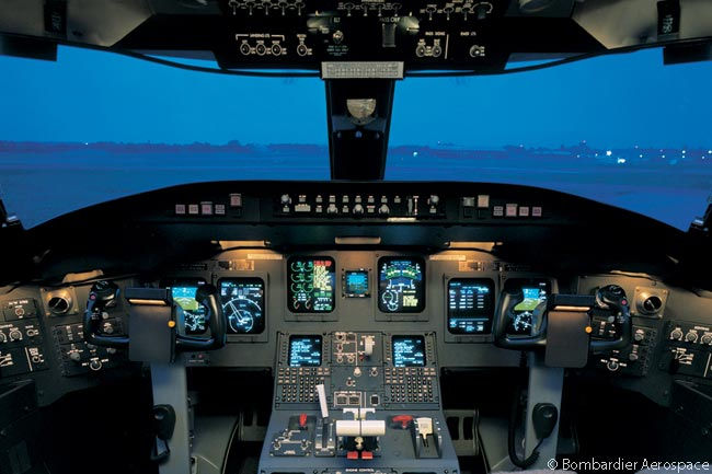 This is what the flight deck of the Bombardier CRJ1000 NextGen regional jet looks like