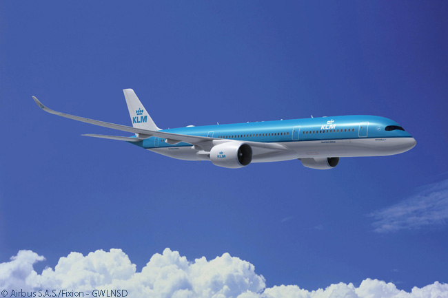 Like sister airline Air France, KLM Royal Dutch Airlines will operate a fleet of Airbus A350-900s