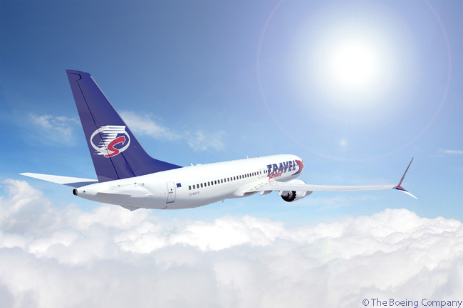 On June 19, 2013, at the Paris Air Show, Czech Repiblic-based Travel Service announced a commitment for three Boeing 737 MAX 8s, which Boeing values at $301.5 million at list prices. Shown here is a rendering of a Boeing 737 MAX-8 in Travel Service livery