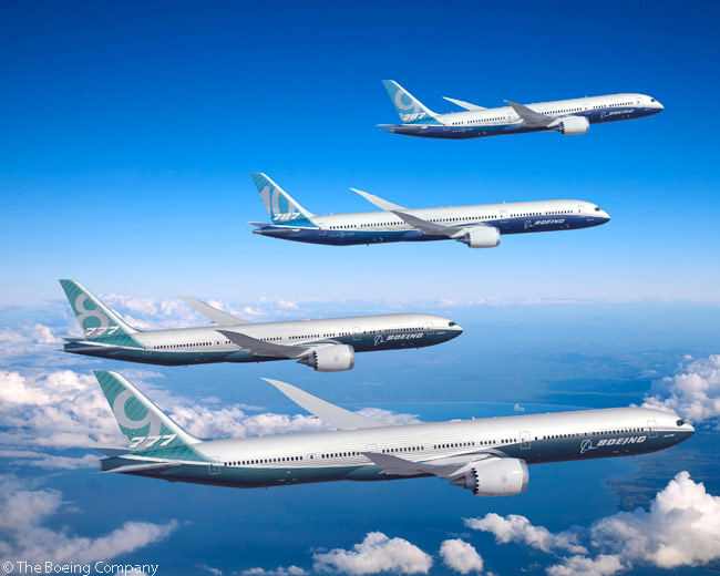 This computer graphic image shows Boeing's planned new-generation, twin-engine widebody family: the 787-9, the 787-10, the 777-8 and the 777-9. As of the end of the Paris Air Show in June 2013, Boeing had not yet formally launched either of the latter two 777 sales and production programs