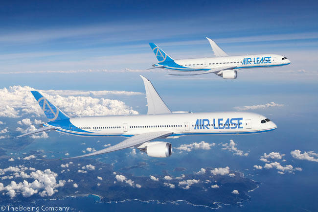At the Paris Air Show on June 18, 2013, Air Lease Corporation announced a commitment to order 30 Boeing 787-10s and three 787-9s. This computer graphic image shows a 787-10 and a 787-9 in the leasing company's house colors