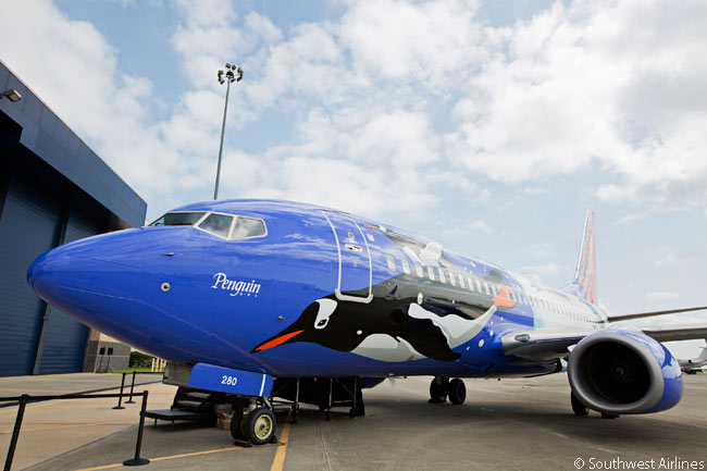 On June 20, 2013, Southwest Airlines and SeaWorld Parks & Entertainment unveiled a specially themed Boeing 737-700, 'Penguin One', to mark 25 years of commercial partnership. Southwest has 12 other specially painted aircraft in its current fleet