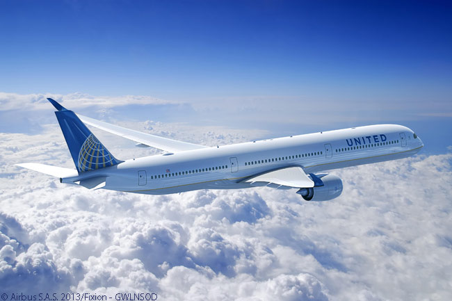 On June 20, 2013, at the Paris Air Show, Airbus announced a new agreement with United Airlines for the U.S. carrier to change its existing orders for 25 A350-900s to the A350-1000 and to add a further order for 10 more A350-1000s. This image shows an A350-1000 in United Airlines colors