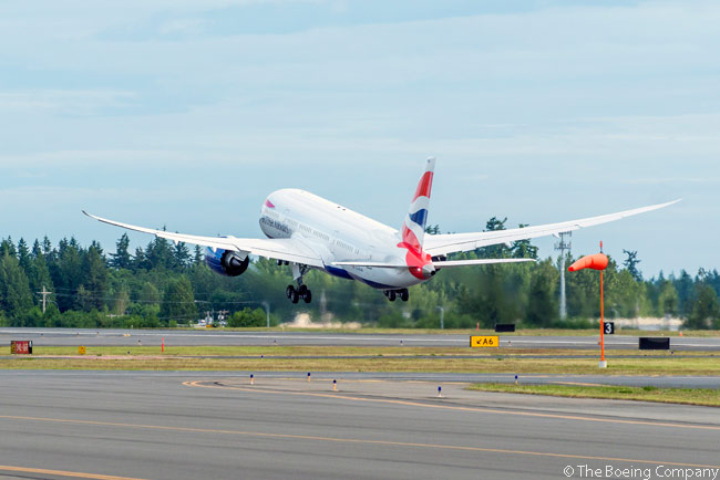 This photograph shows British Airways' first Boeing 787 departing Paine Field in Everett, Washington on June 26, 2013 on its delivery flight to London Heathrow Airport