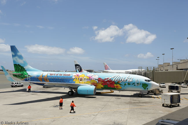 Alaska Airlines painted this Boeing 737-800 in a special livery to commemorate its strong network ties to the U.S. island state of Hawaii and unveiled the theme-painted aircraft, which it calls 'Spirit of the Islands', at Honolulu International Airport