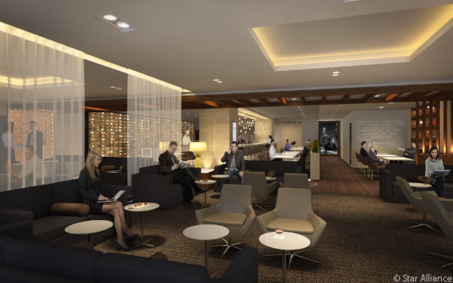 The new Star Alliance lounge in the redesigned and expanded Tom Bradley International Terminal at Los Angeles International Airport will feature defined spaces to suit passenger needs ranging from social gatherings around the bar to quiet time in the library