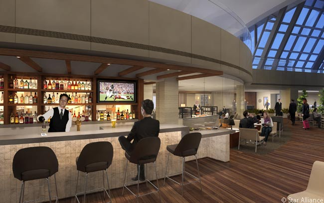 This computer rendering shows the Business Class bar area in the new Star Alliance lounge in the redesigned and expanded Tom Bradley International Terminal at Los Angeles International Airport