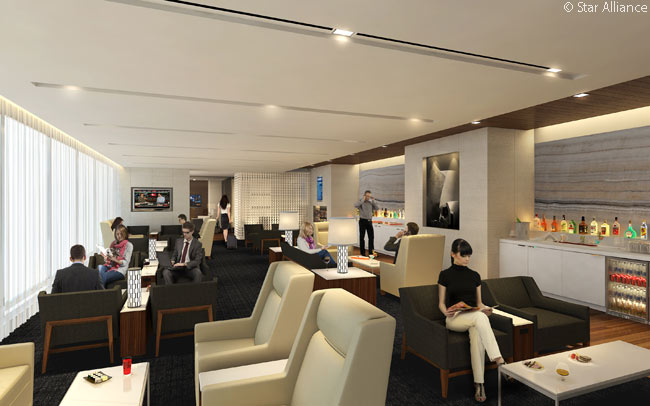 The new Star Alliance lounge in the redesigned and expanded Tom Bradley International Terminal at Los Angeles International Airport has two distinct areas. One, shown in this computer rendering, is for the exclusive use of customers traveling in First Class and there is a larger section for Business Class and Star Alliance Gold passengers