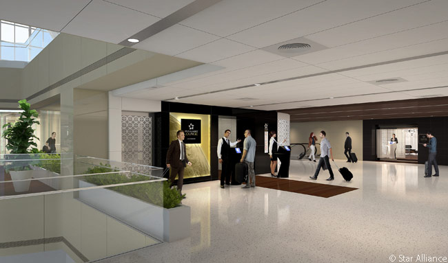 This computer graphic image shows the entrance to the new Star Alliance lounge in the redesigned and expanded Tom Bradley International Terminal at Los Angeles International Airport