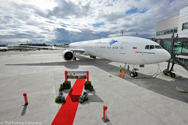Garuda Indonesia celebrated delivery of its first Boeing 777-300ER on July 2, 2013. Pictured here is the airline's first 777-300ER at Boeing's widebody delivery center at Everett, Washington just prior to its delivery flight