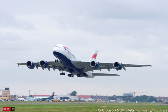 British Airways is the fifth A380 operator at London Heathrow Airport. This photograph shows BA's first A380 taking off from Toulouse-Blagnac Airport on a test flight