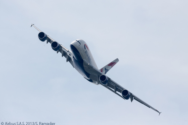 The first British Airways A380's presence during the 2013 Paris Air Show's third day included static and flying displays at Le Bourget Airport