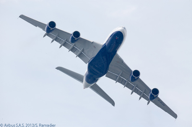 The first British Airways A380 concluded its visit to the 2013 Paris Air Show on the biennial industry event's third day