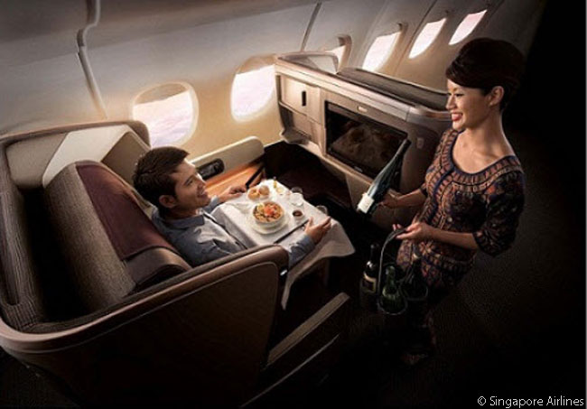 Singapore Airlines' new Business Class seat offers greater recline, at 132 degrees, than do previous seats and the new seat features an improved ergonomic seat cushion