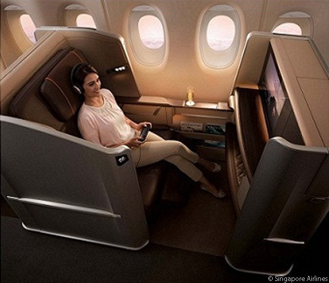 SIA's new First Class seats are designed to offer passengers their own personal sanctuaries. Each seat features a new fixed-back shell design with curved side panels to provide a clear demarcation of personal space, for added privacy