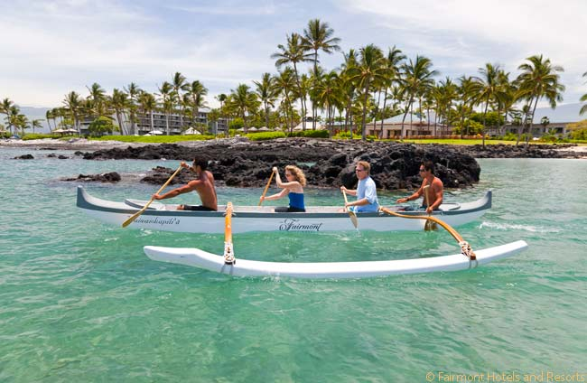 Outrigger canoeing is one of the adventure activities offered at the Fairmont Orchid
