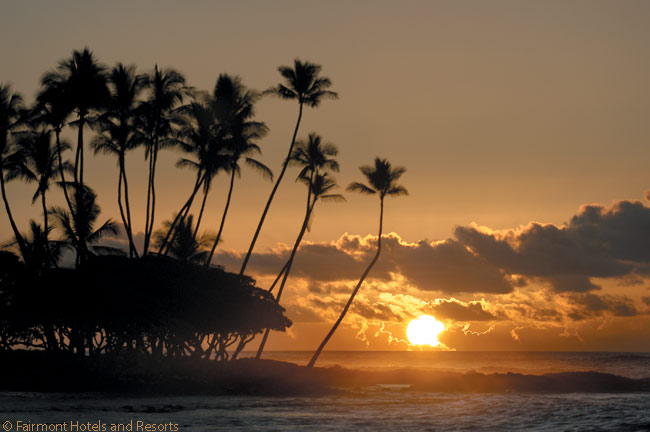 Guests can enjoy spectacular views of sunset over the Pacific Ocean from the seafront at the Fairmont Orchid