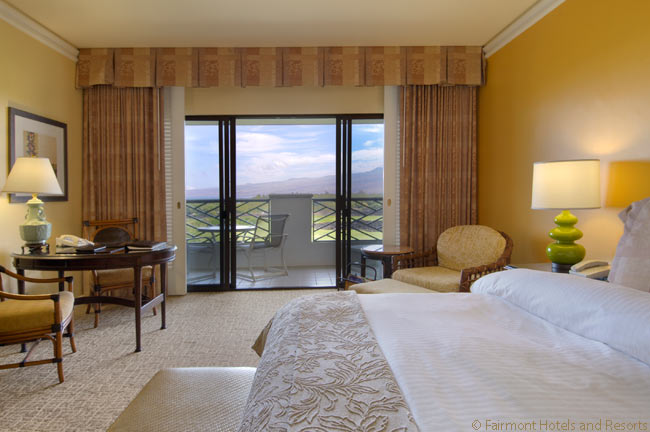 This is a Fairmont Gold guestroom at the Fairmont Orchid, on the island of Hawaii. Note the lanai outside the room, offering a view eastwards towards the mountains