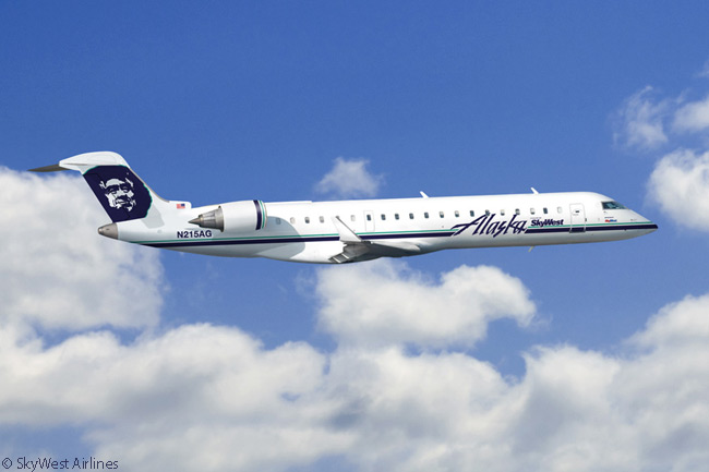 SkyWest Airlines operates five Bombardier CRJ700 regional jets on the Alaska Airlines network. The aircraft are each configured with 70-seat interiors