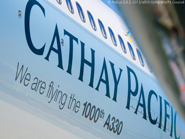 On the landmark 1,000th Airbus A330, delivered to customer Cathay Pacific Airways on July 19, 2013, the airline has a prominent notice saying 'We are flying the 1000th A330'