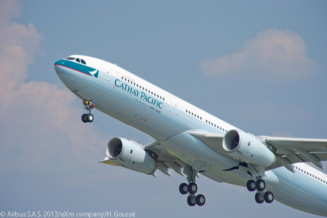 The 1,000th Airbus A330 delivered, which was handed over to customer Cathay Pacific Airways on July 19, 2013, is shown taking off. Along with sister carrier Dragonair, Cathay Pacific is the largest operator for the A330