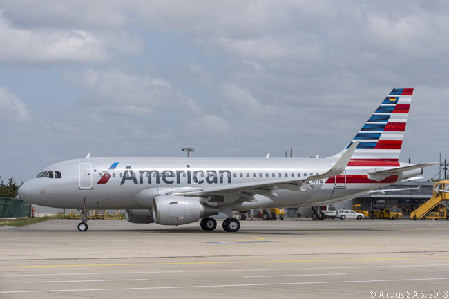 American Airlines took delivery of its first Airbus A320-family aircraft, an A319, on July 23, 2013. At the time American had a total of 260 A320-family and A320neo-family jets on order, plus options on 365 more