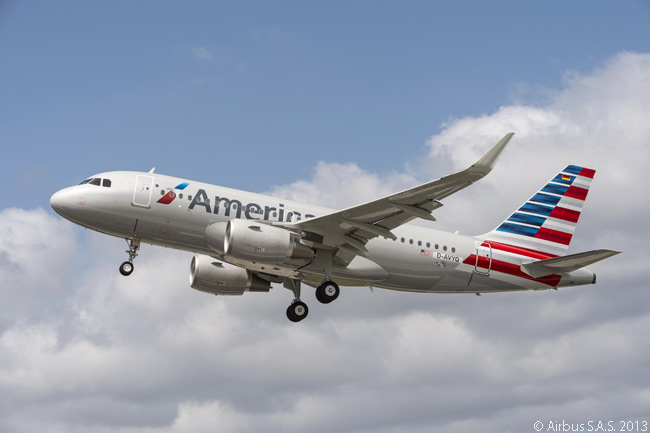 American Airlines' first Airbus A319 (and first A320-family jet) was also first A319 delivered with Sharklets installed and the 100th A320-family aircraft to feature Sharklets