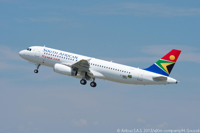 One of South African Airways' first two new A320s from an order for 20 A320-family jets is photographed taking off on its delivery flight on July 23, 2013