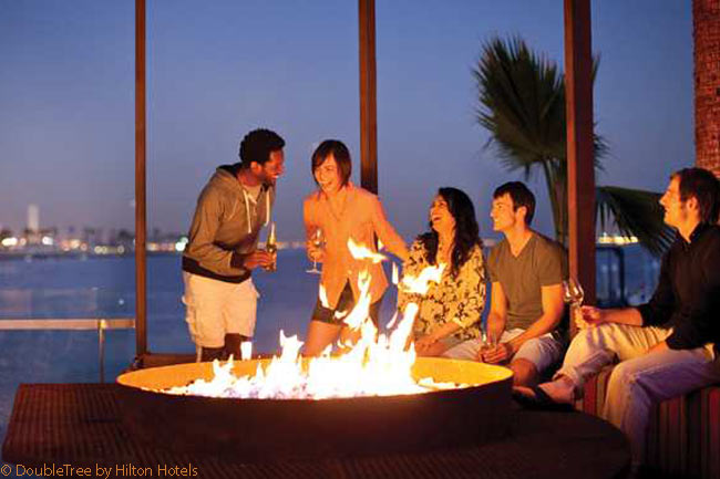 Fire pits at various strategic locations in the Hotel Maya's grounds provide excellent places to gather outdoors and make merry during cooler evenings