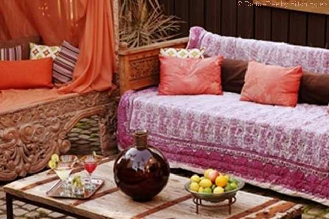 The Hotel Maya's semi-outdoor cabana and hookah lounge, yards away from the hotel's Fuego restaurant, is a very unusual and fun feature of the property