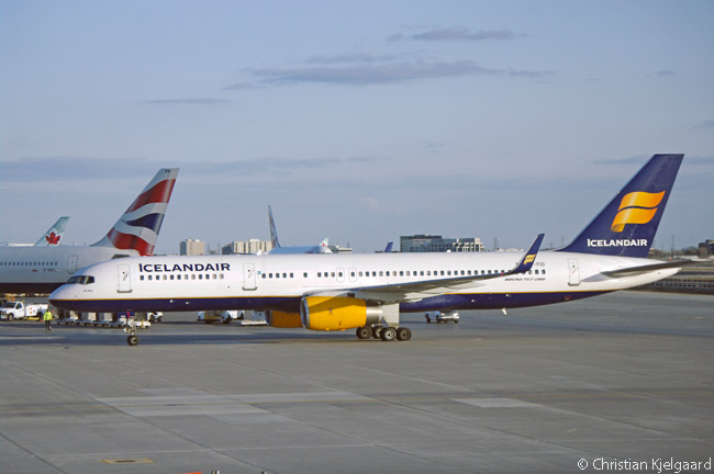 After landing at Toronto's Lester B. Pearson International Airport, Icelandair Boeing 757-200 TF-FIO, named 'Krafla', taxis in towards its gate at Terminal 3