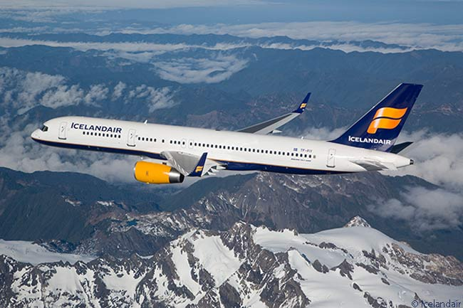 Icelandair Boeing 757-200 TF-FIY is photographed flying above the mountains of northern Iceland