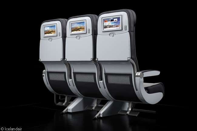 There are 120 Economy-class seats, each seat row with two sets of three-abreast seating, in an Icelandair Boeing 757-200. Seat pitch is 32 inches and each seat is 16.9 inches wide