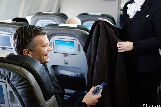 With a seat pitch of 40 inches, a seat width of 20.5 inches and a seat-recline angle not nearly enough to convert seats into flat beds, Icelandair's Saga Class business-class service product is rather like U.S. domestic first-class or premium economy on leading global carriers