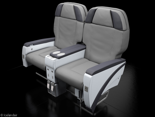 Icelandair's Saga Class leather seats do not convert into flat beds but rather resemble the easy chair-like recliners that characterized business class on major global carriers in the 1990s