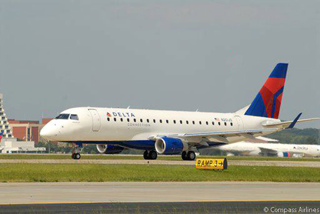 Compass Airlines operates 30 Embraer 175s  for the Delta Connection network. Each Embraer 175 is fitted with 12 domestic First Class, 12 Economy Comfort and 52 Economy Class seats