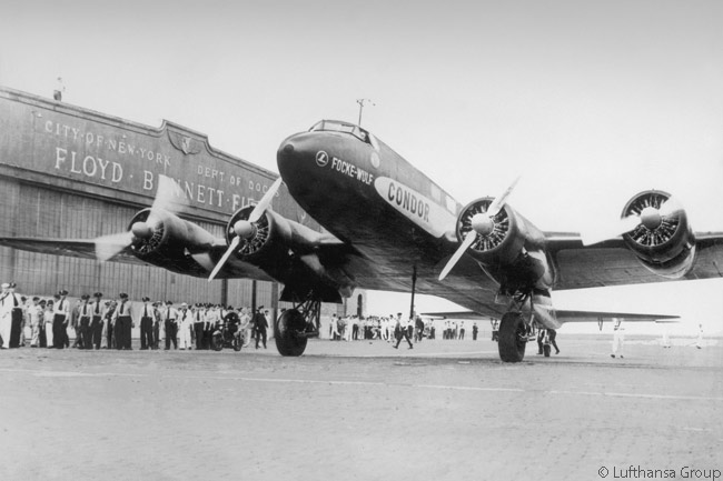 On August 11, 1938, Focke-Wulf Fw 200 Condor D-ACON landed at Floyd Bennett Field in New York, becoming the first land-based passenger aircraft to complete a non-stop flight over the Atlantic. The flight, completed in 24 hours, 56 minutes and 12 seconds, set a new world record for non-stop distance and speed for a land-based passenger aircraft