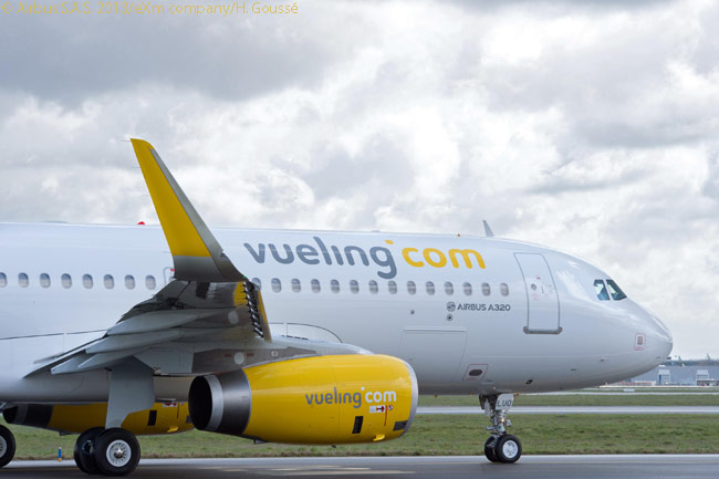 On March 22, 2013, Spanish carrier Vueling took delivery of its first A320 fitted with Sharklets