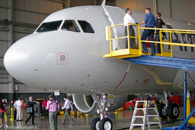 The first Airbus A319 delivered to American Airlines sits inside the carrier's Hangar 5 at Dallas/Fort Worth International Airport on August 14, 2013, receiving employees and media visitors from around American's domestic network to view the interior of the new aircraft