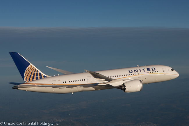 United Airlines mainly uses its growing fleet of Boeing 787s to operate transpacific routes from its major hub airports such as Houston and San Francisco