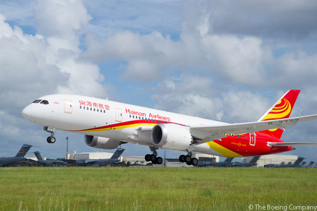 On July 4, 2013, Hainan Airlines received the first of 10 Boeing 787-8s it had on order. The aircraft is photographed taking off from North Charleston in South Carolina, the site of Boeing's second 787 assembly line