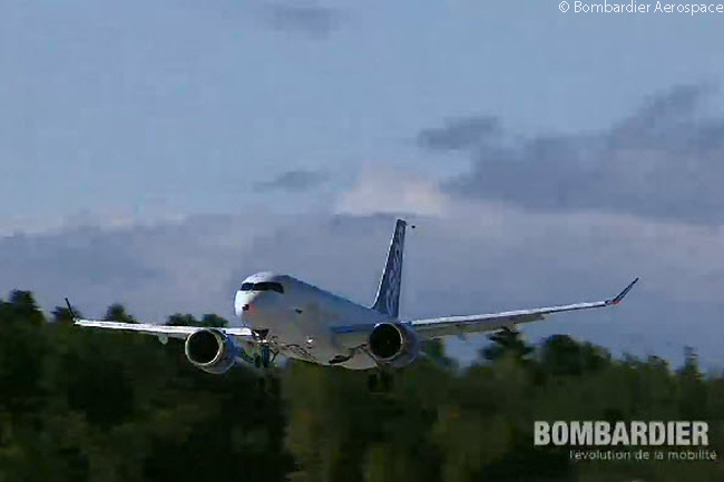 Bombardier's first CSeries jet, CS100 C-FBCS, takes off on its maiden flight on September 16, 2013. This still photograph was captured from the official live video feed of the CSeries' maiden flight webcast by  Bombardier Aerospace